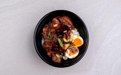 Beef strips in teriyaki glaze