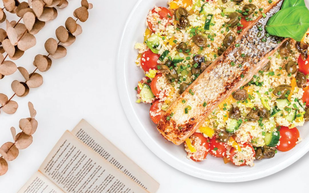 Pan-Seared Salmon with Cous Cous Salad